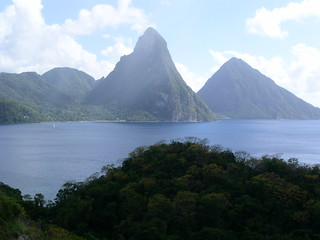 St Lucia - view of the Pitons from Anse Chastenet | by heatheronhertravels