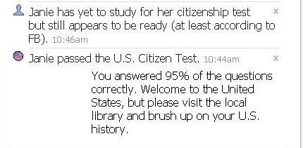 FaceBook Citizenship Test Results | by janielianne