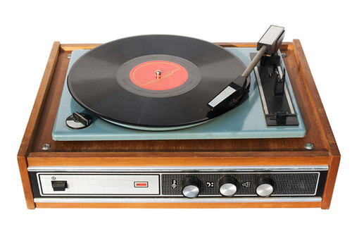 An old record-player | An old record-player with a scratched ...