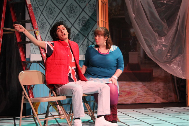 Characters Billy and Violet rehearse their parts for the play Murder Most Fowl in Play On!