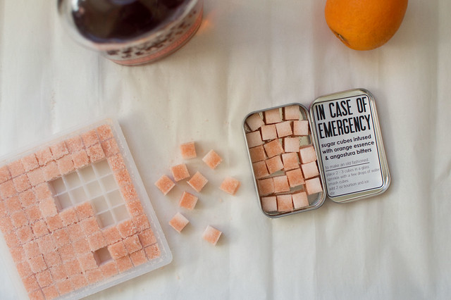 sugar cubes with orange and bitters