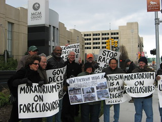 MECAWI demonstration outside Detroit's MGM Casino Hotel dealing with the city's mortgage crisis on November 27, 2007. PANW editor Abayomi Azikiwe third from left. (Photo: Cheryl LaBash). | by Pan-African News Wire File Photos