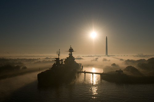 "Ship Portrait - ""USS Texas"" at San Jacinto Park in Fog 