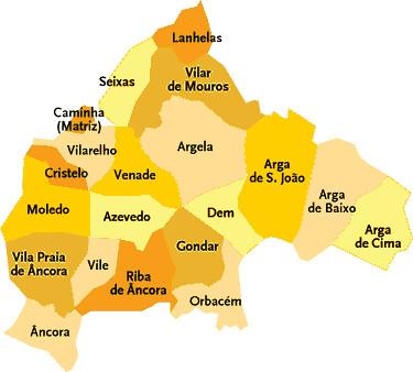 caminha mapa Concelho de Caminha   Portugal | Mapa de freguesias | Jorge Bastos  caminha mapa