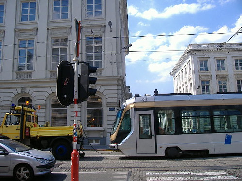 Tram being towed by tractor, Brussels | by lamoustique