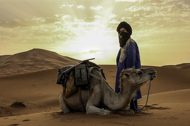 Morocco desert traveler