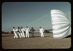 Instructor explaining the operation of a parachute to student pilots, Meacham field, Fort Worth, Tex.  (LOC) | by The Library of Congress