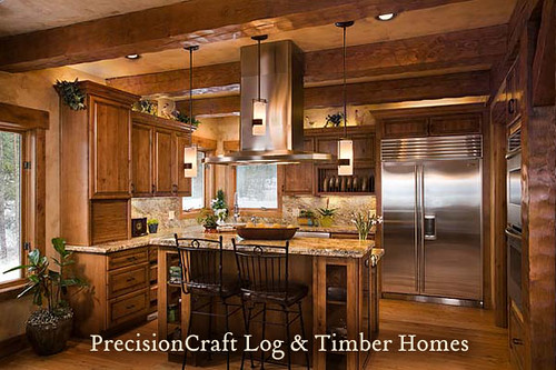 ... Kitchen View | Custom Timber Frame Home | By PrecisionCraft Log Homes |  By PrecisionCraft Log
