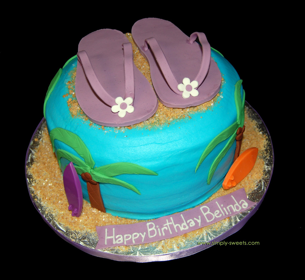 Pleasant Purple Flip Flop Hawaiian Birthday Cake Simply Sweets Flickr Birthday Cards Printable Inklcafe Filternl