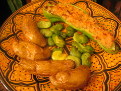 roasted_fingerling_potatoes fava_beans risotto_baked_in_cubanelle_pepper | by tofu666