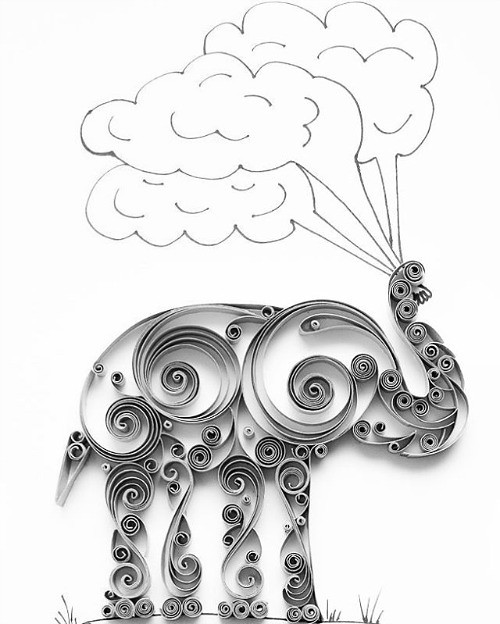 Quilled Elephant - Mainely Quilling