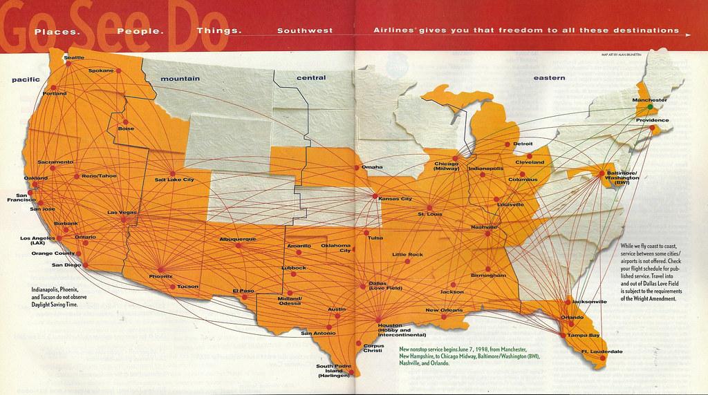 Southwest Route Map Southwest route map, 1998 | A Southwest Airlines route map f… | Flickr Southwest Route Map