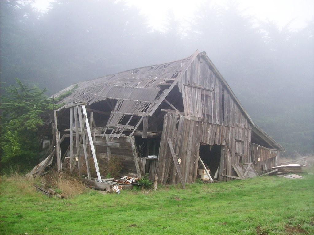 Abandoned barn about ready to fall over in the morning fog ...
