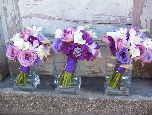 purple rose, callas, lisianthus & orchid bouquet | by doli23