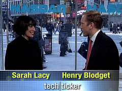 Tech Ticker's Sarah Lacy with contributor Henry Blodget | by Yahoo Inc