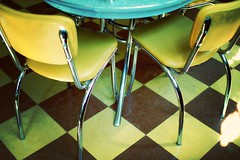 Yellow Chairs Checkered Floor | by moriza