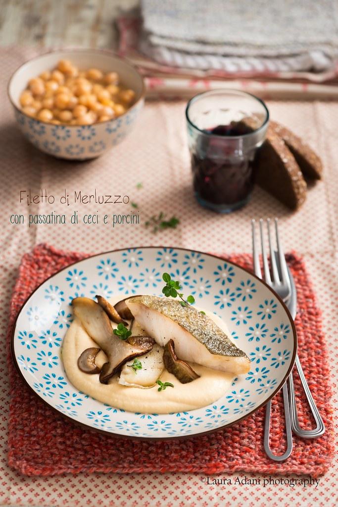 filetto di merluzzo con passatina di ceci e porcini
