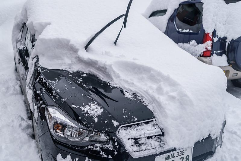 Snow accumulated overnight