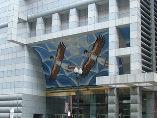 Chicago- 120 North LaSalle Street- Savings of America Tower (MURPHY & JAHN)- detail of 'Flight of Daedalus and Icarus' mosaic mural by ROGER BROWN | by Cairlinn
