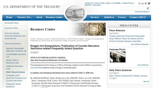 Kingpin Act Designations; Publication of Counter Narcotics Sanctions-related Frequently Asked Question - Google Chrome