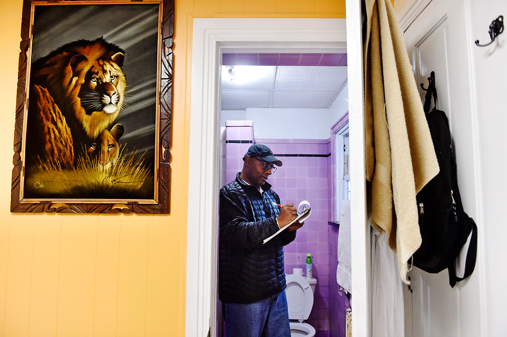 © 2016 by The York Daily Record/Sunday News. Fred Way, executive director of the Pennsylvania Alliance of Recovery Residences (PARR), ticks off a checklist while inspecting a resident's bathroom in a West Market Street recovery house operated by Safe Haven Transitional Living on Wednesday, Feb. 3, 2016. Way founded PARR in Jan. 2011 as a nonprofit that inspects and certifies qualified recovery houses that seek certification to distinguish themselves from scores of other houses. Each certified house is inspected annually.