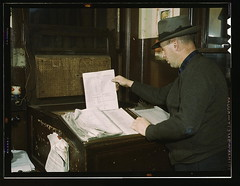 Switch lists coming in by teletype to the hump office at a Chicago and Northwestern railroad yard, Chicago, Ill.  (LOC) | by The Library of Congress