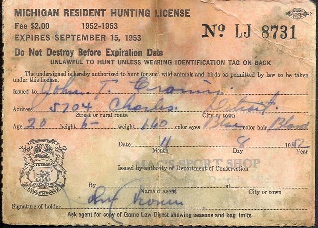 1952 michigan resident hunting license explore upnorth for Michigan fishing regulations