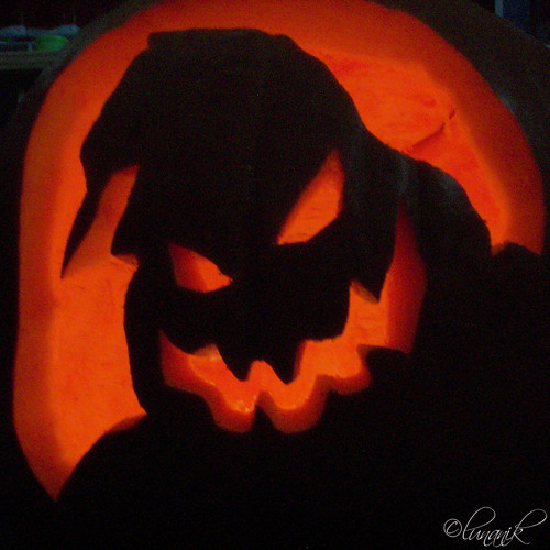 Oogie boogie pumpkin i carved this on halloween