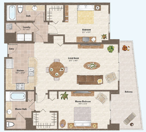 Two bed room condo floor plan 4 one las vegas condo for Condo plans free