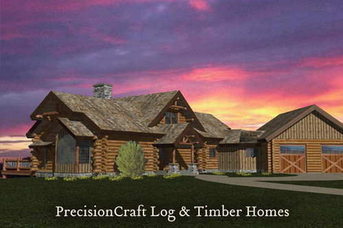 Custom Milled Log Home Rendering Located In New York B
