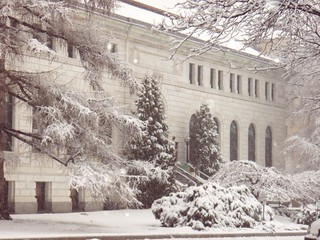Library in snow | by Manchester Library