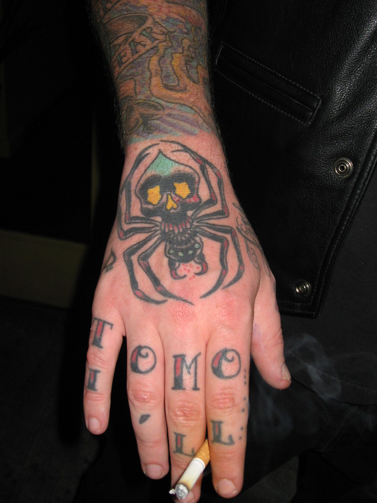 tony 39 s hand tattoo by jef whitehead spider tattoo by jef