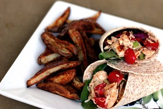 Chicken wrap with oven fries | by ayngelina