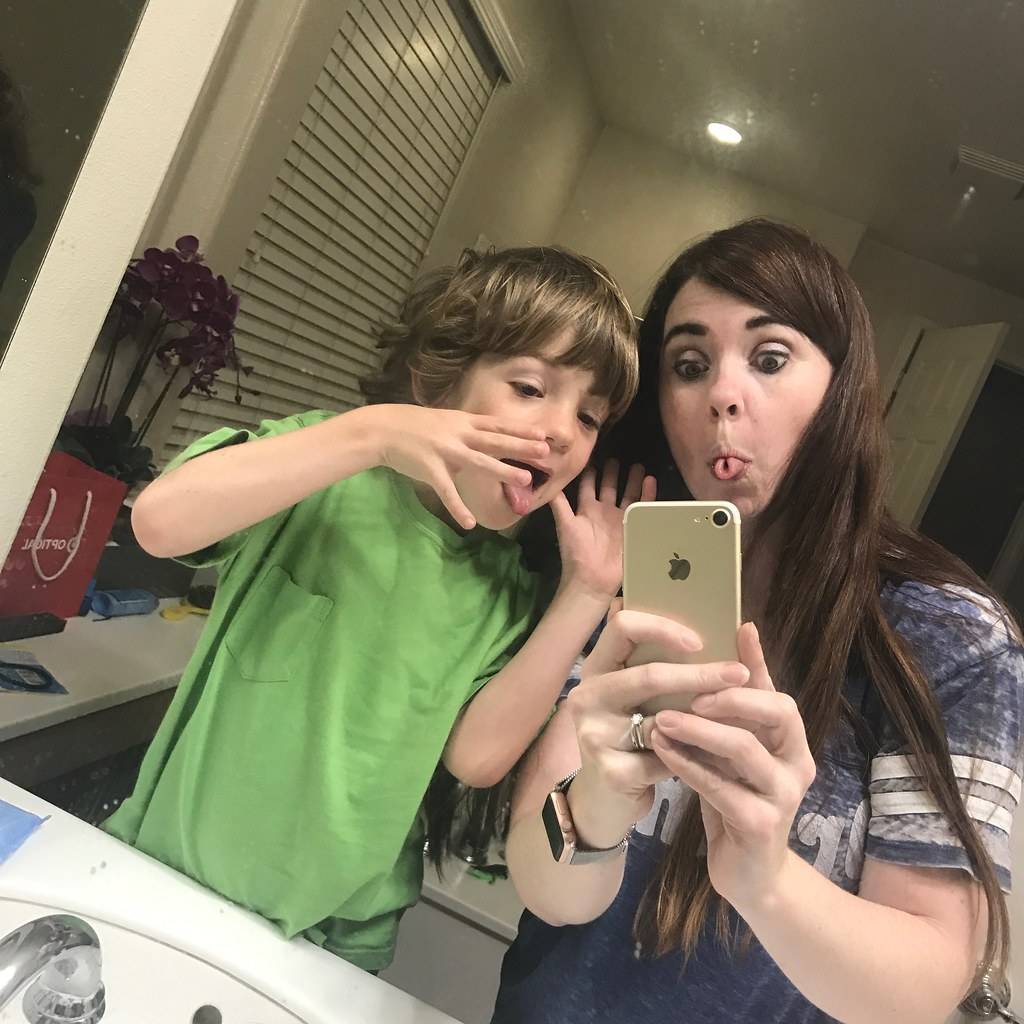 Silly faces in mirror