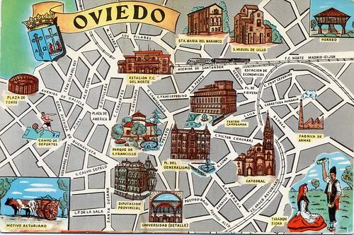 Oviedo Map Card Colecci 243 N De Mapas De Las Capitales De