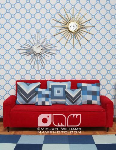 Light Blue Circles Living Room Blue Circular Wallpaper