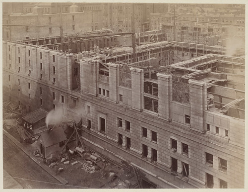 View from S.S. Pierce Building, Blagden Street side, construction of the McKim Building | by Boston Public Library