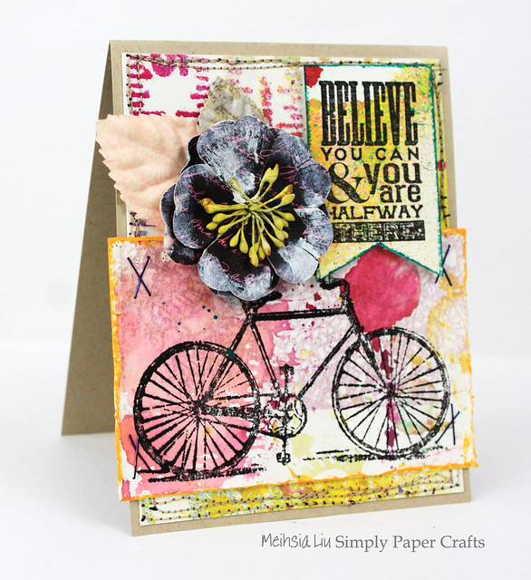 Meihsia Liu Simply Paper Crafts Mixed Media Card Simon Says Stamp Monday Challenge Bicycle Believe 1