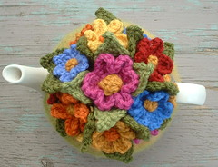 4 Cup Handknitted and Crocheted Flowers, Felted  Tea Cosy Top | by delightful knits