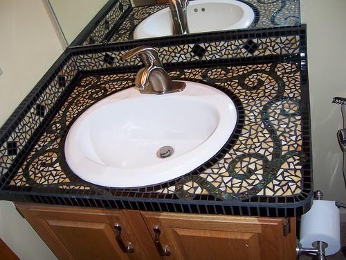Bathroom vanity half bath in my home had perhaps the for Mosaic tile vanity top