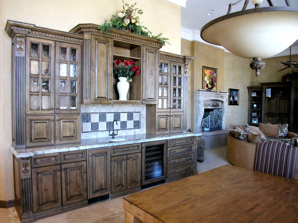 Ornate Kitchen Cabinets Mahogany