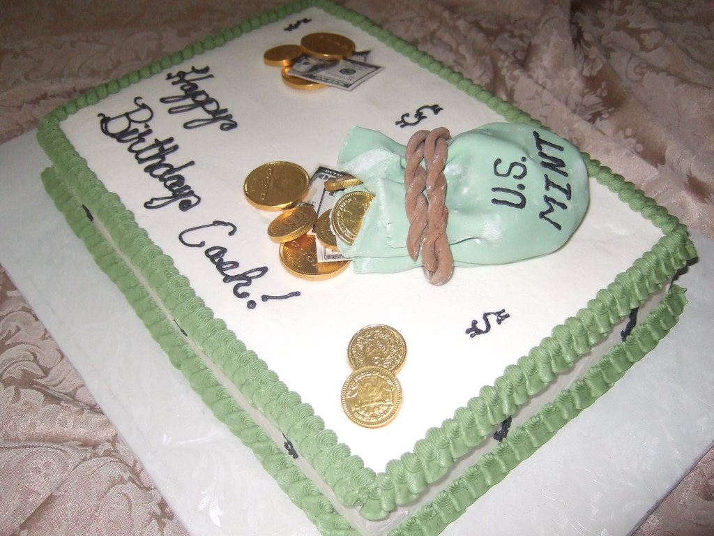 message on cake bag of money birthday cake 13x9 white cake with 5842