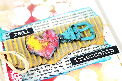 Meihsia Liu Simply Paper Crafts Mixed Media Card Real Friendship Simon Says Stamp Monday Challenge Tim  Holtz Prima Flowers 3