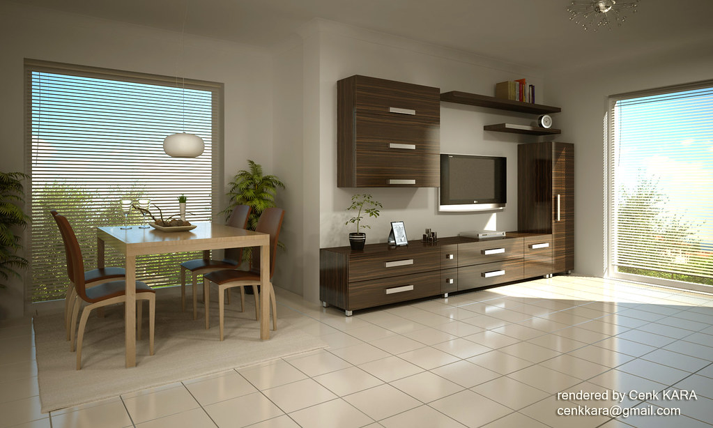 tv unit rendering livingroom interior product by foga