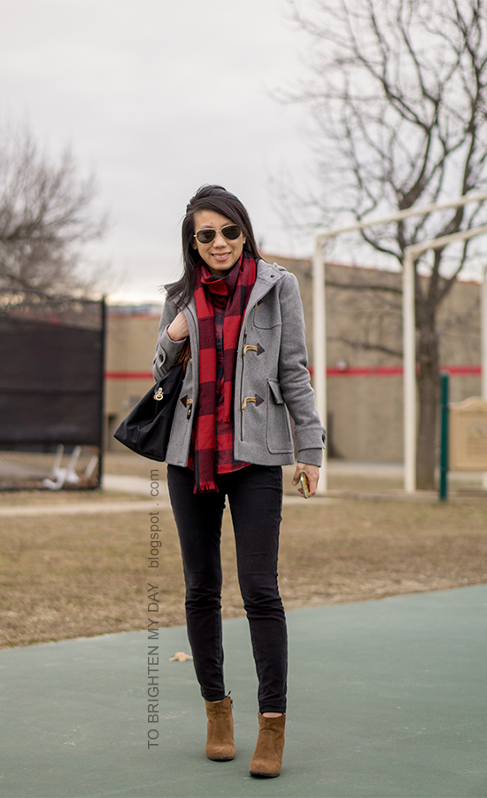 red buffalo check scarf and button up shirt, gray duffle coat with toggles, black skinny jeans, brown suede ankle boots