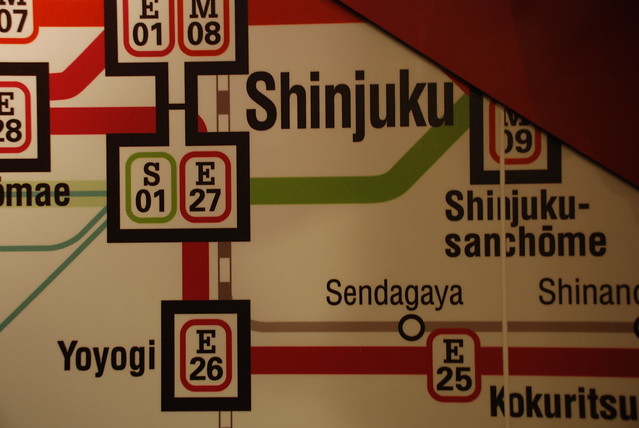 Tokyo metro map on the wall of the McDonald's