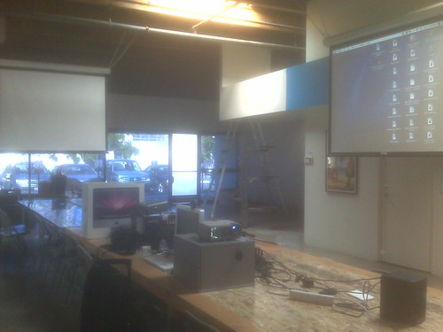 Newsroom of the future - 3 projectors, five microphones, desk for 50! | by jasoncalacanis