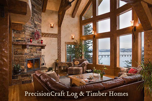 Located in idaho great room in a timber frame home by for Timber frame great room