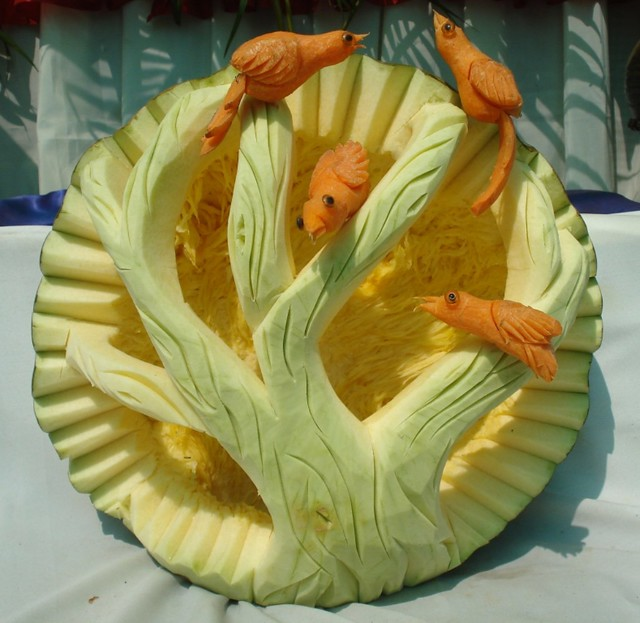 Vegetable carving on pumpkin and carrot aruna