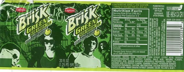 Lipton Tea 20oz Bottle For Sale: Lipton Brisk Green Tea Apple